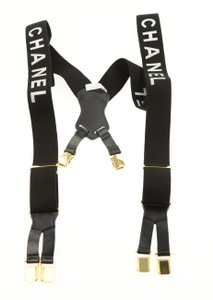 Chanel Chanel Black and White Logo Printed Suspenders