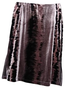 Evolution Not Revolution Tie Dye Velvet Metallic Swing Double Slitted Skirt Gunmetal/Black