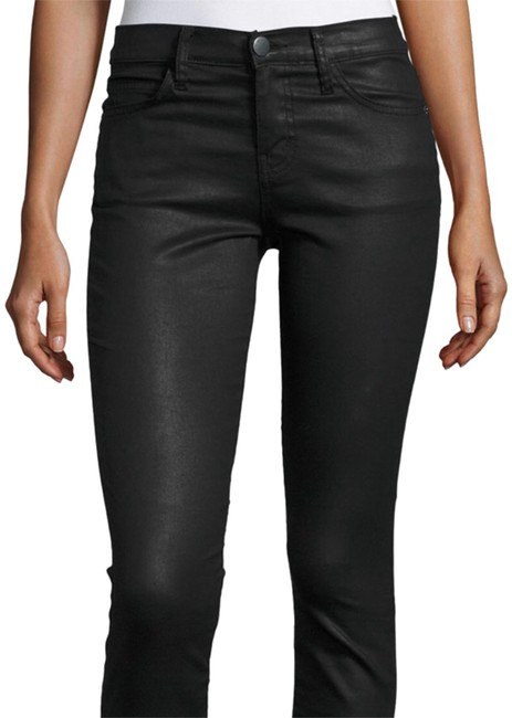 Item - Black Coated Cropped Skinny Jeans Size 28 (4, S)
