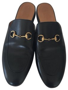 Gucci black leather with gold hardware Mules