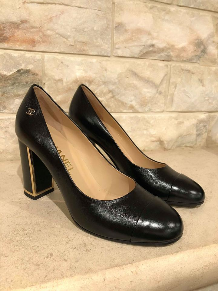 2fe5a6ab43d Chanel Black 17b Calfskin Leather Mule Cc Gold Heel Classic Pumps Size EU  36.5 (Approx. US 6.5) Regular (M