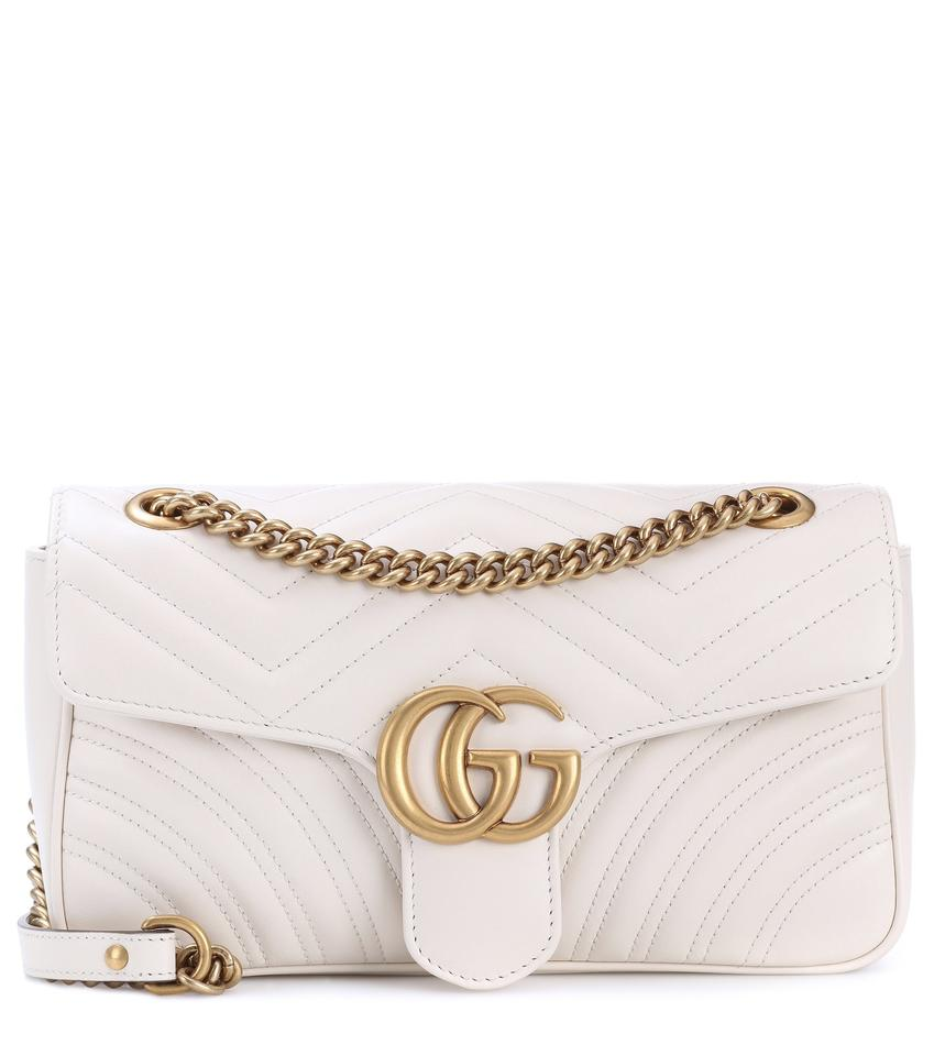c9cf999331f5 Gucci Marmont New Small 2.0 Matelasse White Leather Shoulder Bag ...