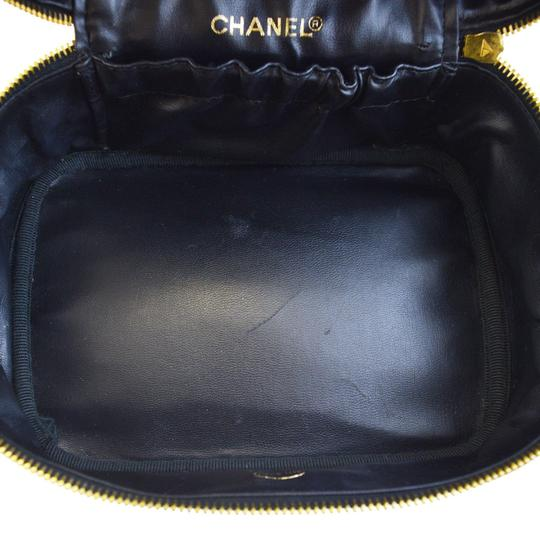 Chanel CHANEL CC Quilted Vanity Cosmetic Bag Leather Black Italy Vintage