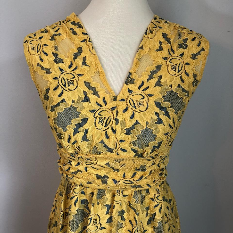c854c59a61 Plenty by Tracy Reese Yellow and Blue Niki Short Formal Dress Size 2 ...
