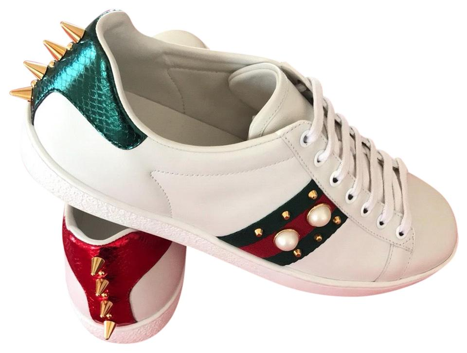 2e08cfa9d Gucci White with Red and Green Web with Glass Pearls and Gold Studs Ace  Studded Leather Sneakers