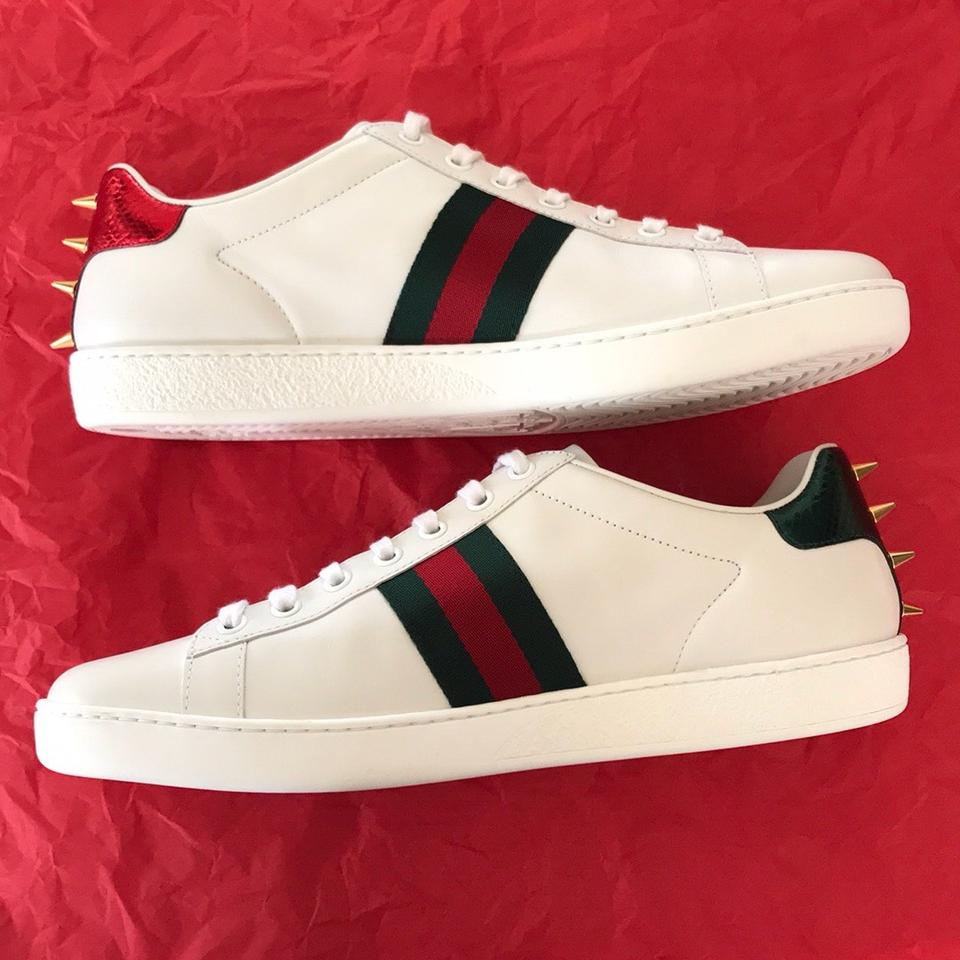 747c212bc6e4d Gucci White with Red and Green Web with Glass Pearls and Gold Studs ...