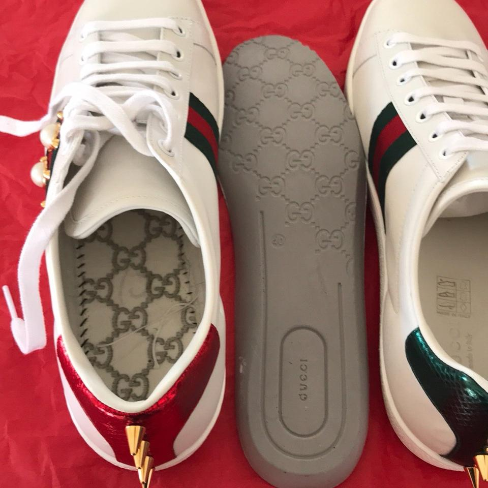 hot sale online d01b8 c5900 Gucci white with red and green web with glass pearls and gold studs  Athletic Image 8. 123456789
