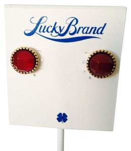 Lucky Brand NWOT Faceted Red Jade Stud Earrings