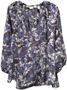 Max Studio Floral Watercolor Split Neckline 3/4-sleeves Silk Gathered Neckline Top Multi-Color