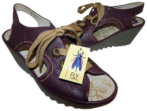 FLY London Ylva Lace Up Wedge Purple Sandals