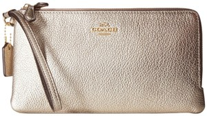 Coach Coach Double Zip Leather Wallet Wristlet