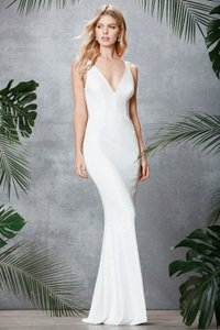 Dress the Population White Polyester/Spandex Harper Sequined Gown Formal Wedding Dress Size 8 (M)