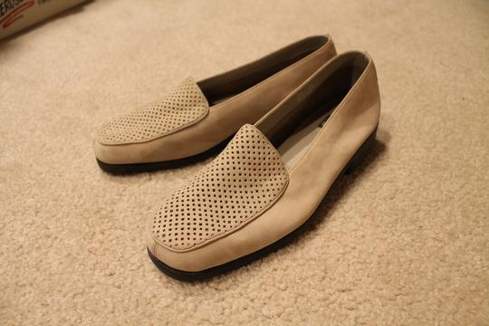 What's What Micro Suede Leather Rubber Sole Tan Flats