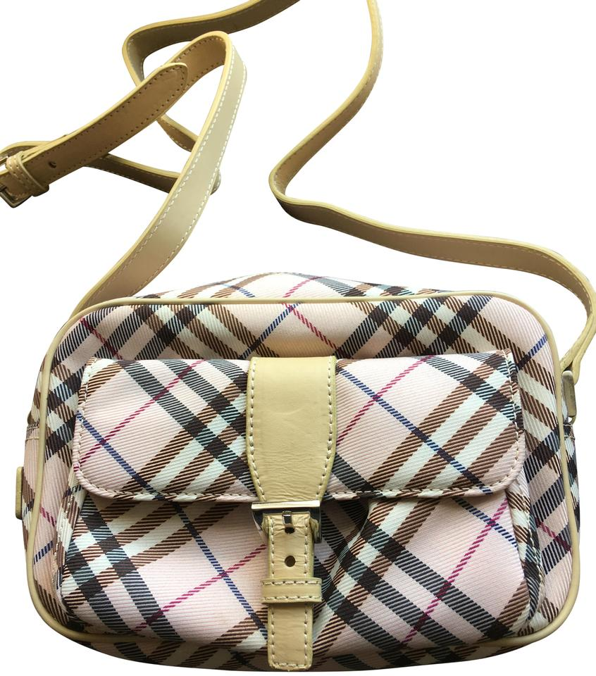 Burberry London Blue Label Nova Check Beige and Pink Canvas Leather ... 56b3ceea9a17d