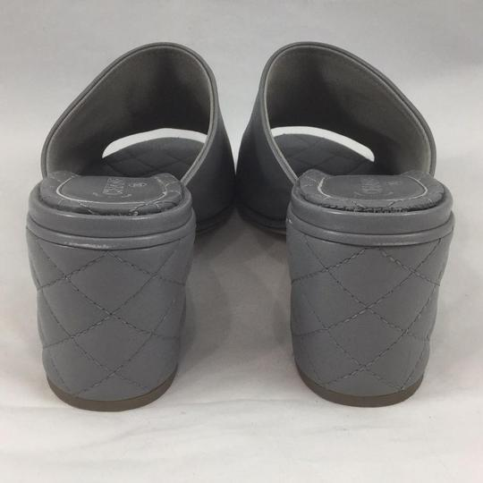 Chanel Quilted Quilted Gray Mules