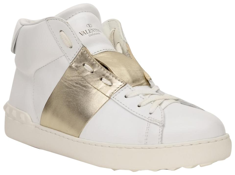 278aac51f9c3 Valentino White Men s Rockstud Open High Top Sneakers Size US 9.5 ...