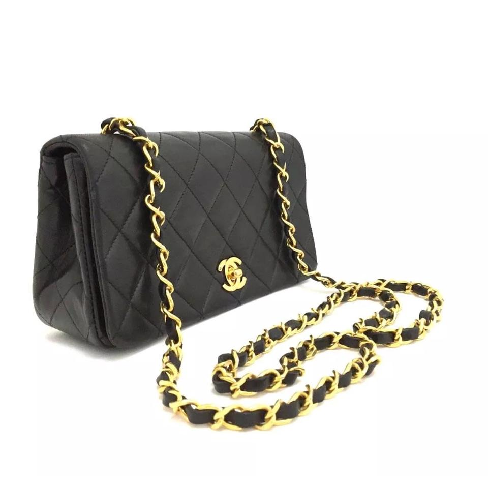 1469bead49c90c Chanel Quilted Full Flap Mini Black Leather Shoulder Bag - Tradesy