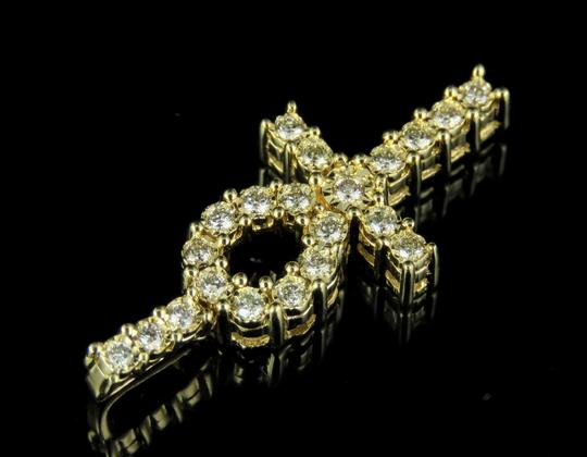 Jewelry Unlimited 10K Yellow Gold Real Diamond One Row Ankh Cross Pendant 0.30 CT 1.1