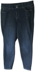 Lane Bryant New With 5-pocket Style Distressed 2 Button Close Skinny Jeans-Dark Rinse