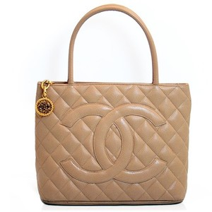 Chanel Luxury Lambskin Leather Tote in Beige