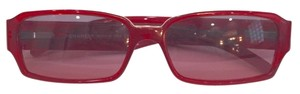 Chanel CHANEL Red Frame Silver Crystal Sunglasses