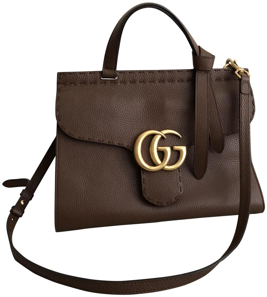 20a60b094d07 Gucci Marmont Top Handle Small Brown Leather Shoulder Bag - Tradesy