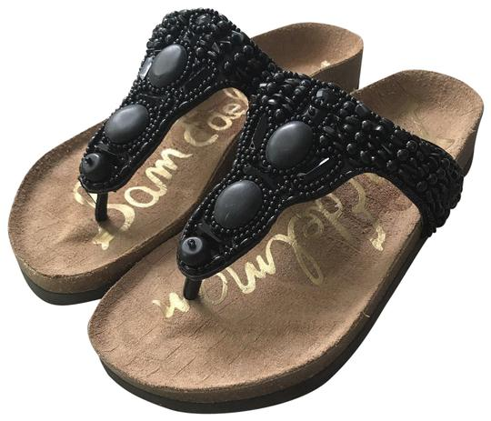 Sam Edelman Flat Beaded Casual Black Sandals