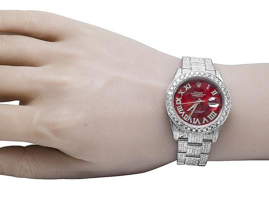 Rolex Datejust 36MM 116200 Red Dial Iced Out VS Diamond Watch 26.55 Ct