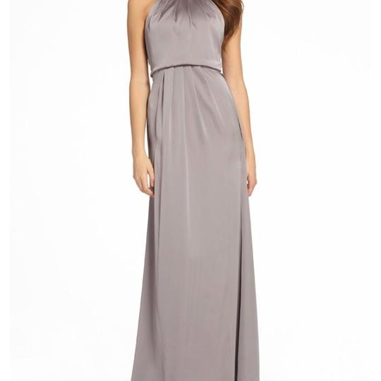Monique Lhuillier Steel Liquid Sateen 450550 Modest Bridesmaid/Mob Dress Size 10 (M)