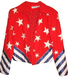 Anage Too Stars And Stripes Beaded Embellished Military Jacket