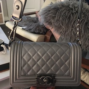 cf7e5354d53c70 Added to Shopping Bag. Chanel Cross Body Bag. Chanel Boy Small Quilted  Silver Leather ...