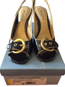 Nickles Soft Peep Toe Black Patent with Gold Details Formal