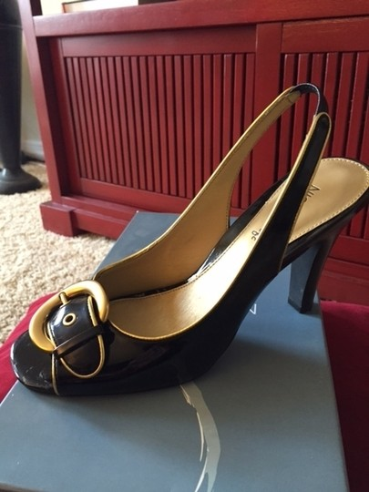 Nickles Soft Peep Toe Hardware Low Heel Dressy Black Patent with Gold Details Formal