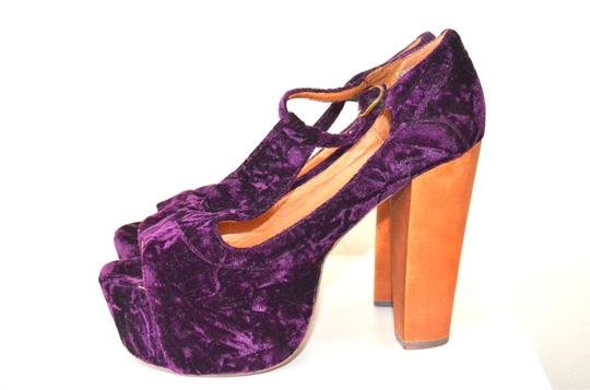 Jeffrey Campbell T-strap Wood Platform Velvet Purple Sandals