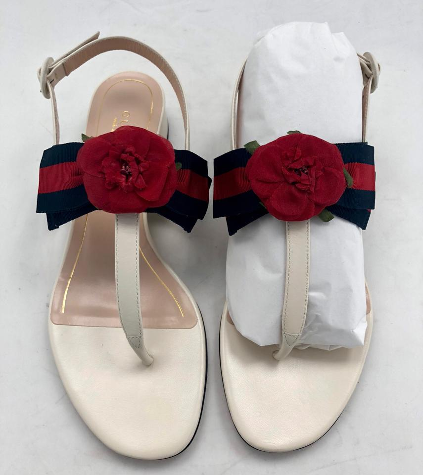 fc20fba7eaed15 Gucci White New Floral Web Bow Leather Sandals Size EU 38 (Approx ...