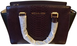 Michael Kors Snakeskin Crossbody Satchel in Purple/ black