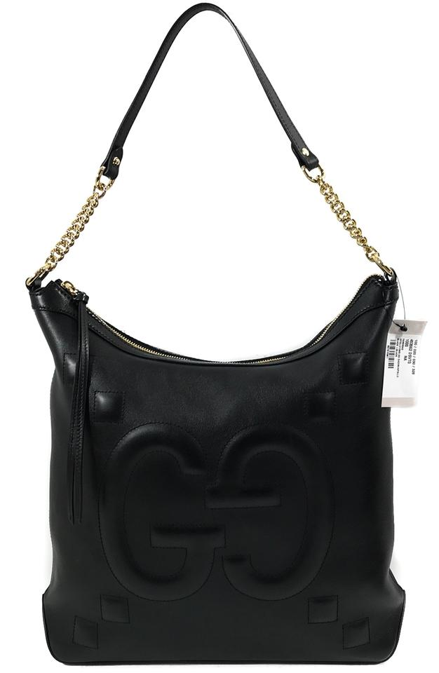 5c8b74cf97f Gucci Apollo Embossed Gg Handbag Black Leather Hobo Bag - Tradesy