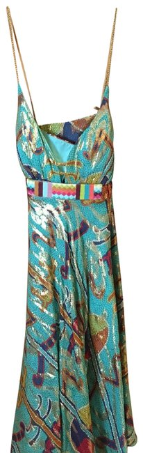 Item - Blue Gold Turquoise Long Cocktail Dress Size 4 (S)