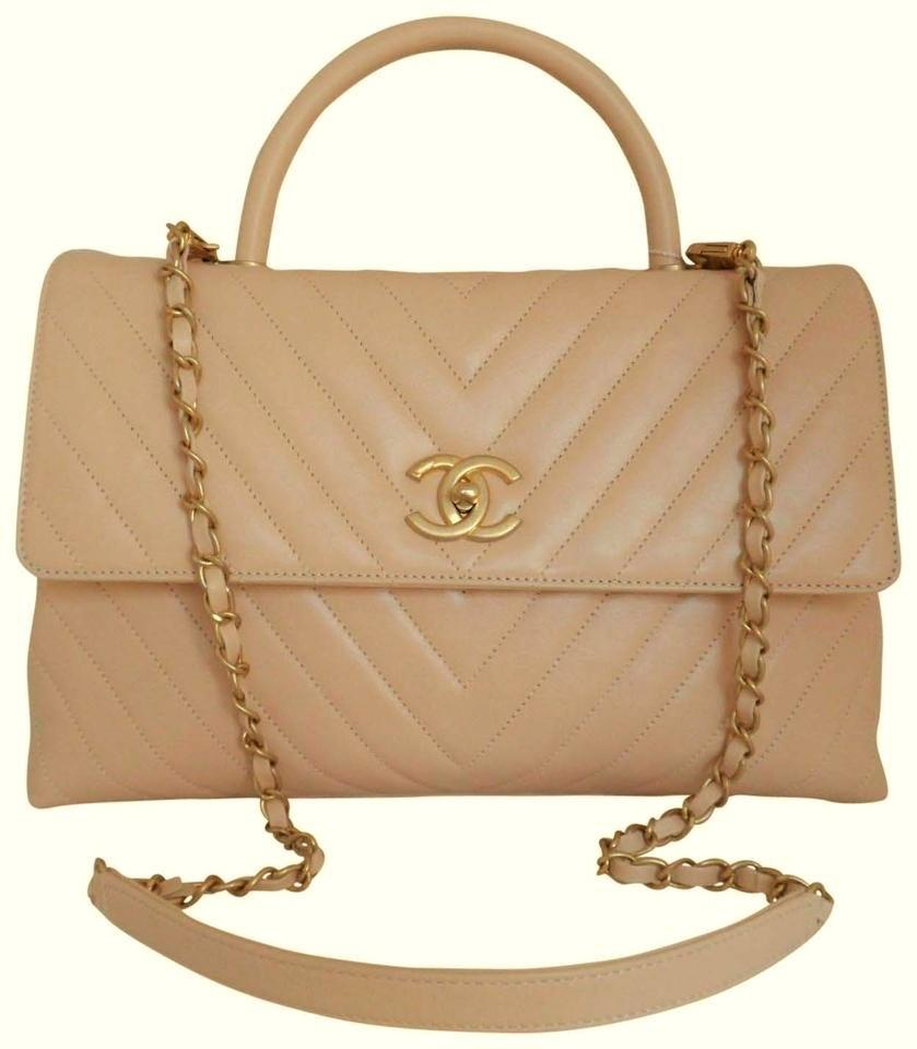 3c7cb699b44d Chanel Coco Handle Chevron Quilted Large Flap Light Beige Calfskin ...