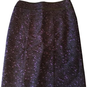 Nanette Lepore Skirt purple and black tweed w kickpleat