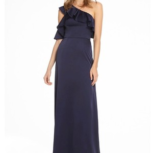 Monique Lhuillier Navy Liquid Sateen 450547 Feminine Bridesmaid/Mob Dress Size 10 (M)