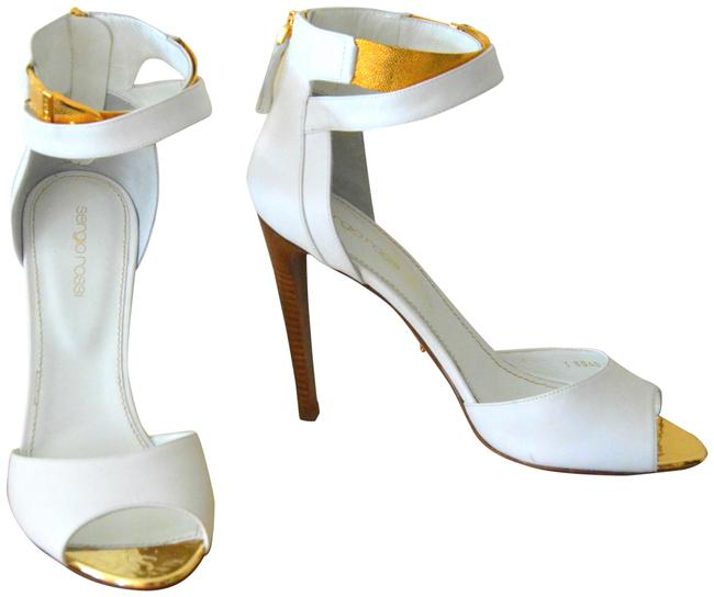 Item - White Leather Gold Ankle Strap Evening 39.5/8-8.5 Sandals Size EU 39.5 (Approx. US 9.5) Regular (M, B)
