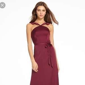 Monique Lhuillier Merlot Liquid Sateen 450543 Feminine Bridesmaid/Mob Dress Size 8 (M)