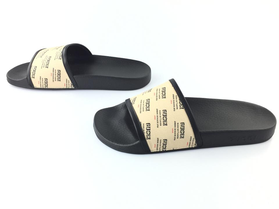 1b18d0110c9 Gucci Beige   Black Pursuit All Over Logo Stamp Slide Sandals Size ...
