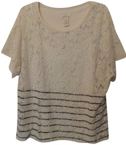 Sundance Knit Xl Lace Tank Cotton Top Off-White, Blue