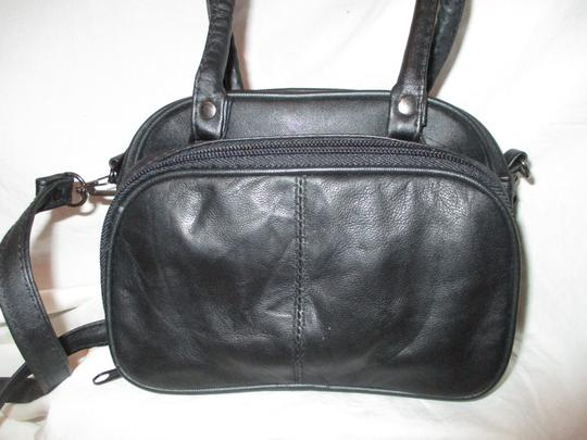 unknown Small Leather Organizer Satchel Baguette Cross Body Bag