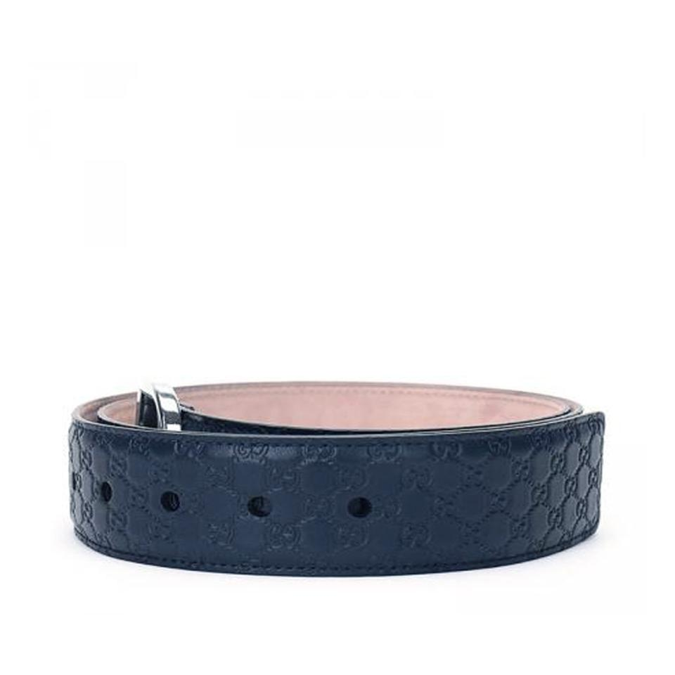 e3eeef2798b Gucci Gucci Men s Microguccissima Navy Blue Belt 449716 size 38 Image 2. 123