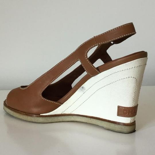 Chanel Slingback Canvas Tan Natural Wedges
