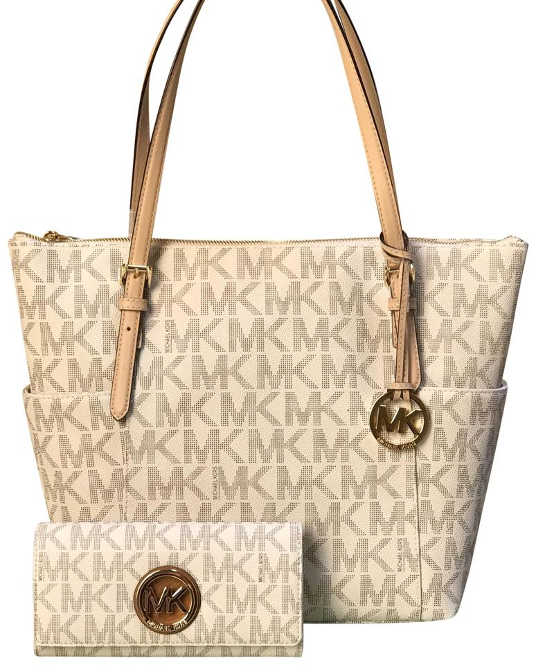 3986ba7bc863 Michael Kors Jet Set Travel Tz Tote+wallet Set Vanilla Signature Pvc Tote