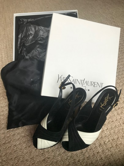 Saint Laurent Slingback Black suede and White leather Platforms